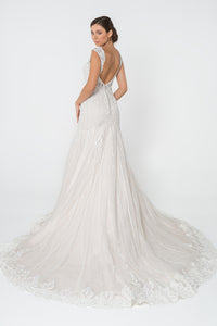 Janine Wedding Dress Fit and Flare Low Back Gown G2821IRR-Ivory/Cream SAMPLE IN STORE