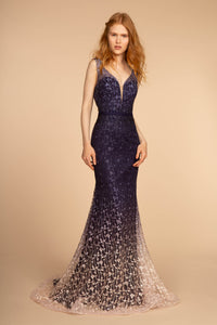 Dylan Formal Dress in Navy/Purple Ombre Embroidered Mermaid Gown G2556TNR  SAMPLE IN STORE