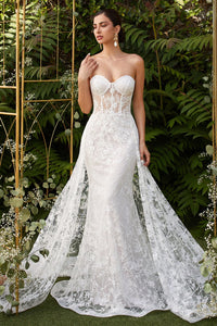 Eva Wedding Dress Sexy Strapless Beaded Lace Bridal Gown C046TTR-OffWhite