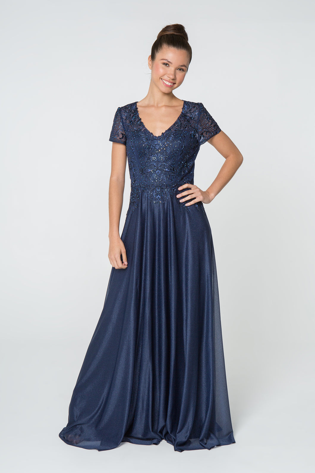 Faith Mothers Dress Short Sleeve Beaded Top Formal Floor Length Gown G2829-Navy SAMPLE IN STORE