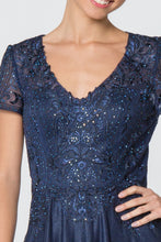 Load image into Gallery viewer, Faith Mothers Dress Short Sleeve Beaded Top Formal Floor Length Gown G2829-Navy SAMPLE IN STORE