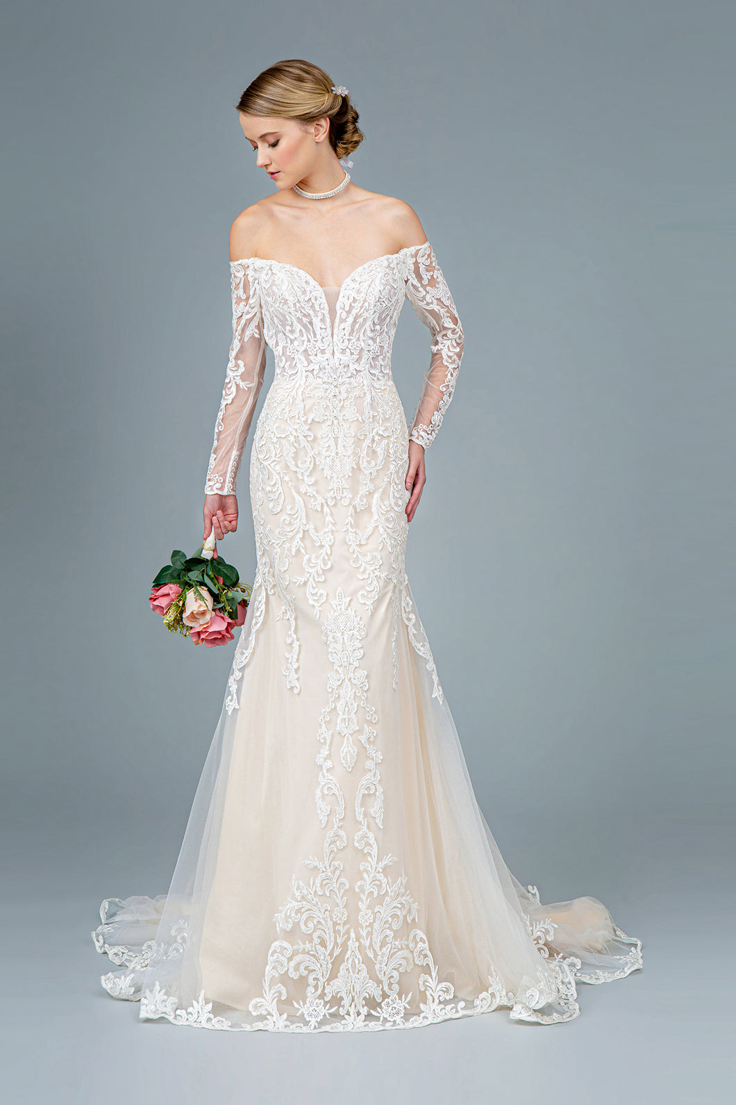 Fleur Wedding Dress Long Sleeve Flared Bridal Gown G1801HXR-Ivory/cream SAMPLE IN STORE