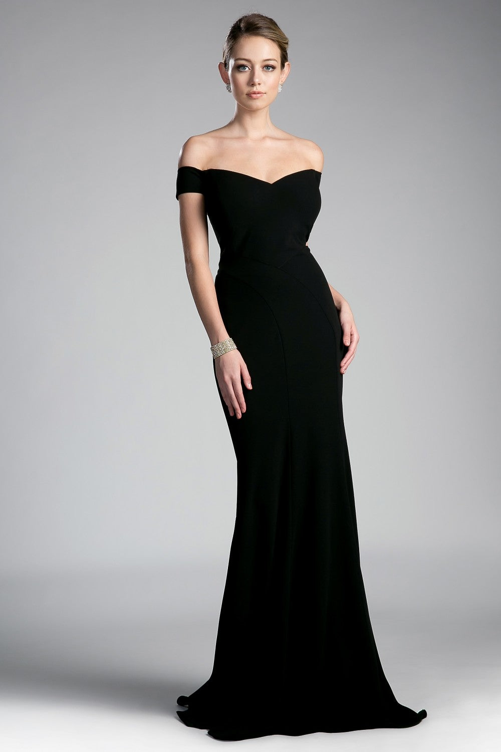 Gwen Bridesmaid Dress Off the Shoulder Fitted Maids Gown C711NR-Black  SAMPLE IN STORE