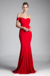 Gwen Bridesmaid Dress Off the Shoulder Fitted Maids Gown C711NR-Red SAMPLE IN STORE