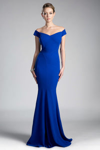 Gwen Bridesmaid Dress Off the Shoulder Fitted Maids Gown C711NR-Royal SAMPLE IN STORE
