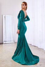 Load image into Gallery viewer, Hayley Long Sleeve Sexy Fitted Gown Bridesmaid Dress C168AR-Green