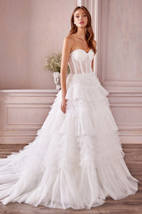 Jacinda Wedding Dress Strapless Bustier with Corset Back Bridal Gown AL1017IER-White