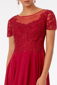 Leona Mothers Dress Sheer Neckline Embroidered Top Mothers Gown G2813XR-Burgundy SAMPLE IN STORE (in mauve)