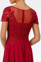 Load image into Gallery viewer, Leona Mothers Dress Sheer Neckline Embroidered Top Mothers Gown G2813XR-Burgundy SAMPLE IN STORE (in mauve)