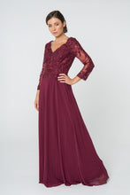 Load image into Gallery viewer, Lorraine Mothers Dress Long Sleeve Lace Top Formal Gown in Burgundy G2825-Burgundy