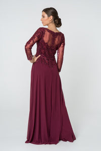 Lorraine Mothers Dress Long Sleeve Lace Top Formal Gown in Burgundy G2825-Burgundy