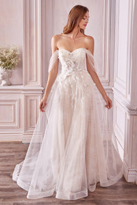 Lovebirds Wedding Dress Beaded Off the Shoulder Bridal Gown AL