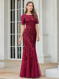 Magnolia Formal Dress in Burgundy Mermaid Gown  E7707HK-Burgundy SAMPLE IN STORE