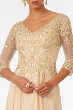 Load image into Gallery viewer, Margaret Mothers Dress Sheer Sleeves V Neckline in Champagne G2925-Champagne SAMPLE IN STORE
