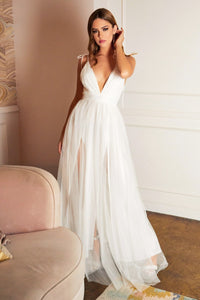 MaryJane Informal Wedding Dress Tulle Skirt with V neckline MaryJane-CSEOO5P-HK-White