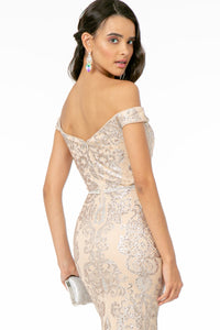 Miranda Wedding Dress Off the Shoulder Mermaid Gown G2922ER-Champagne SAMPLE IN STORE