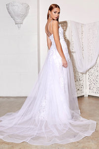 Nora Wedding Dress with Tulle Train and Lace accents on bodice. C-931EE-OffWhite SAMPLE IN STORE