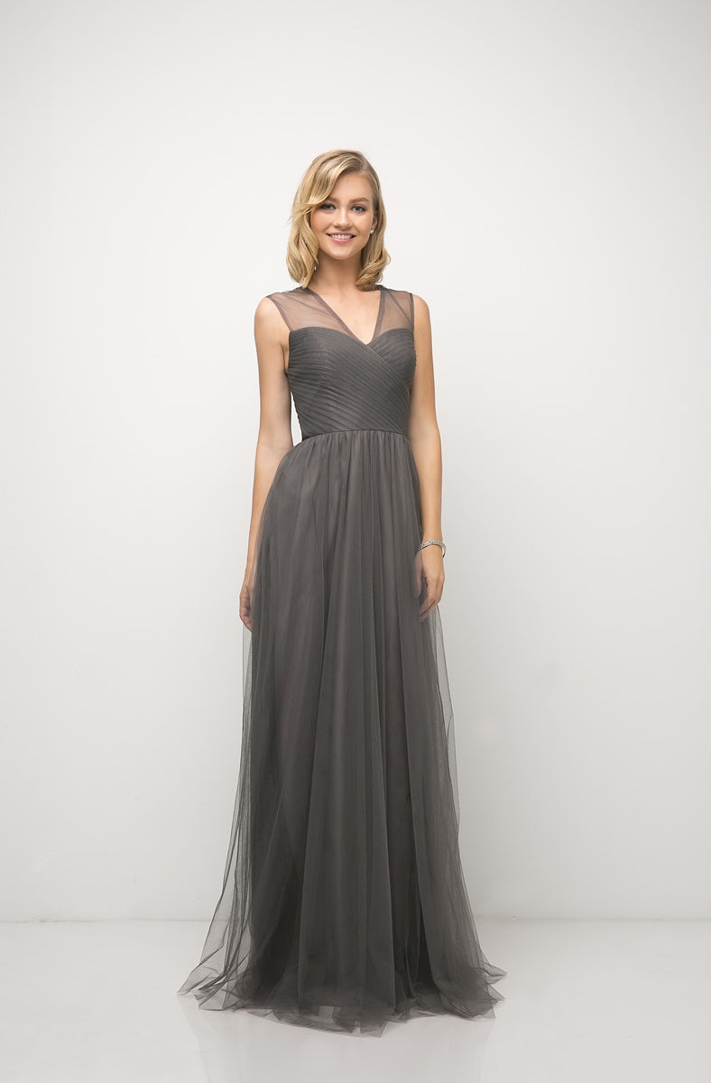Olivia Pleated Bodice Aline Skirt Bridesmaid Dress in Charcoal  C320NK-Charcoal  SAMPLE IN STORE