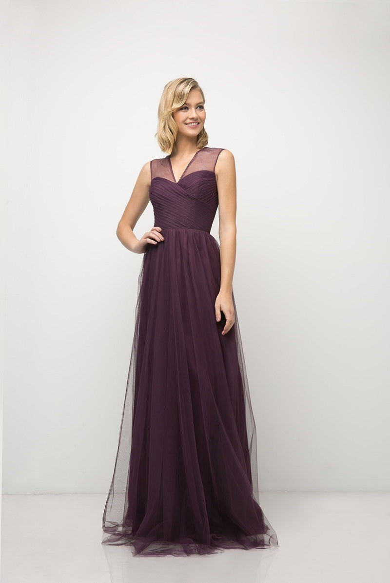 Olivia Pleated Bodice Aline Skirt Bridesmaid Dress in Eggplant  C320NK-Eggplant  SAMPLE IN STORE
