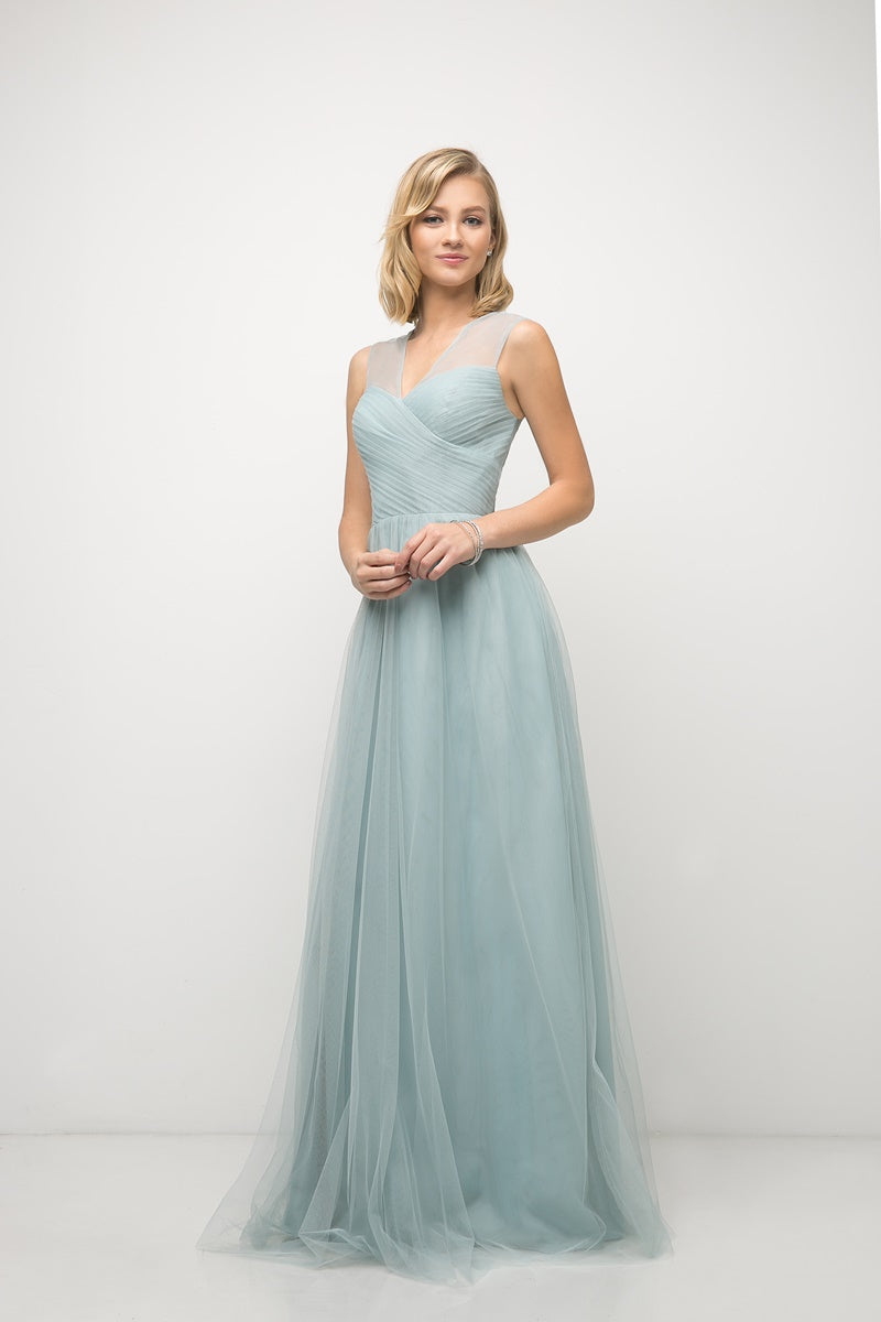 Olivia Pleated Bodice Bridesmaid Dress in Robin's Egg Blue  C320NK-RobinsEggBlue  SAMPLE IN STORE