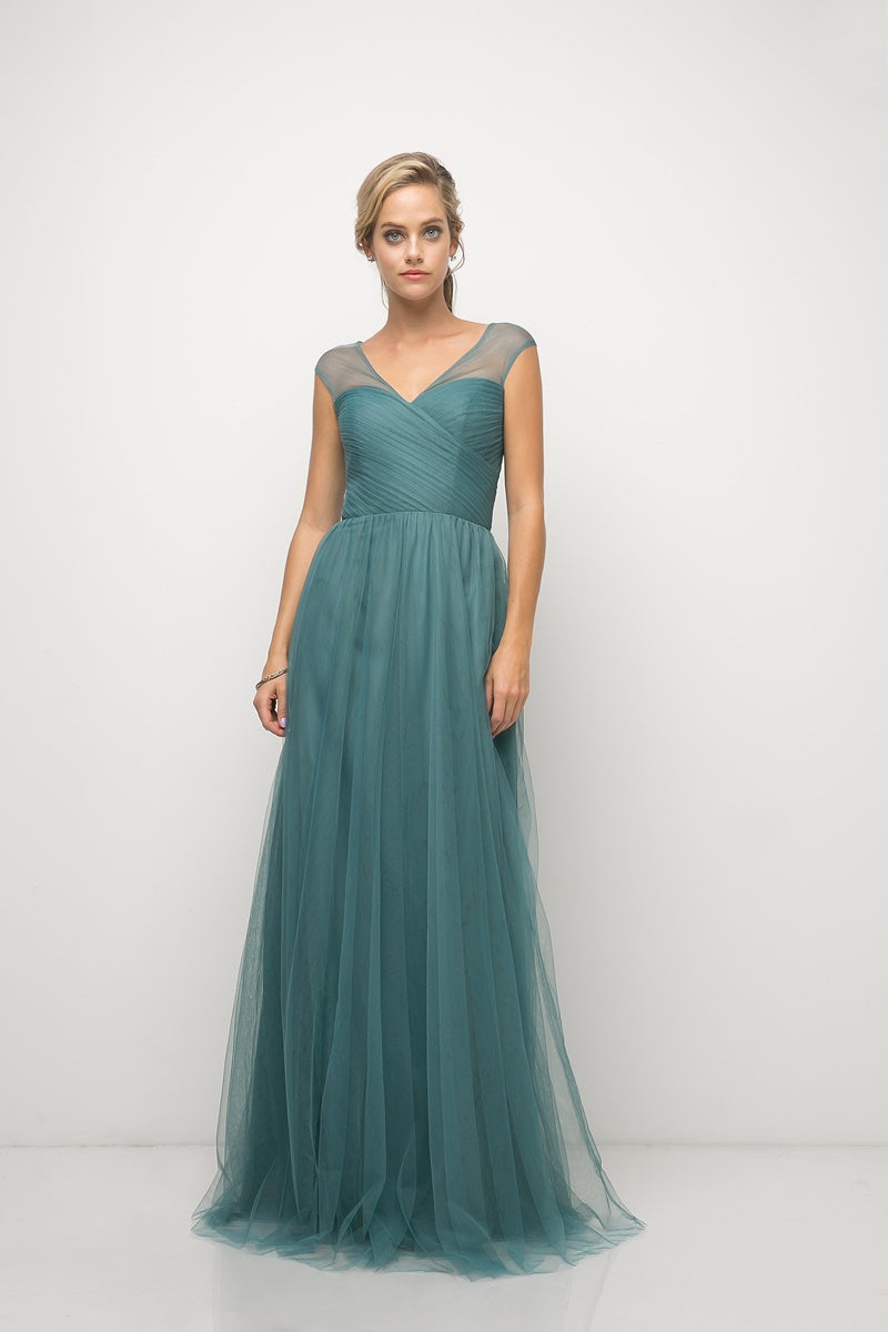 Olivia Pleated Bodice Aline Skirt Bridesmaid Dress in Teal  C320NK-Teal  SAMPLE IN STORE