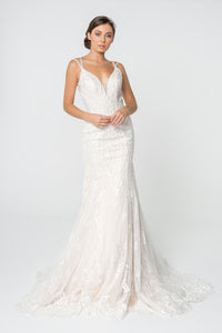 Phoebe Wedding Dress Fit and Flare Spaghetti Strap Bridal Gown G2820HAR-Ivory/cream
