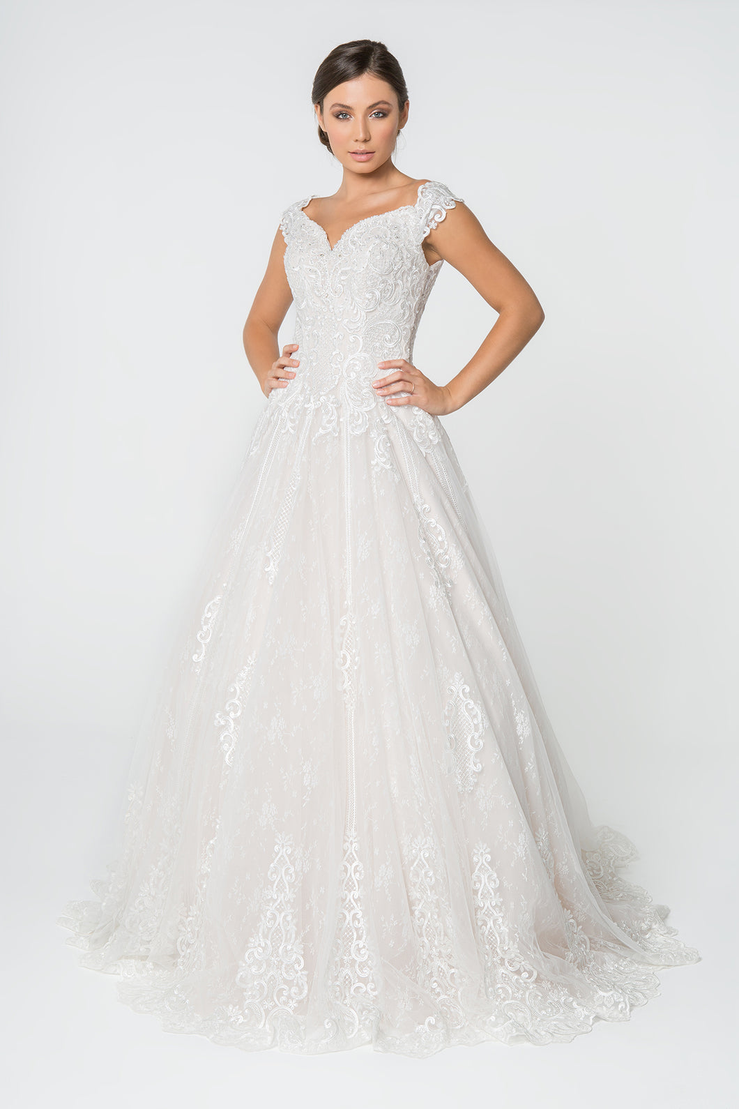 Poppy Ivory Wedding Dress Off Shoulder Lace Skirt Bridal Gown G2823HER-Ivory SAMPLE IN STORE