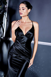 Renee Sexy Satin Bridesmaid Dress in Black C236KK-Black
