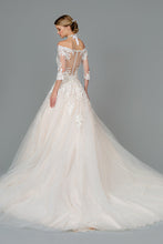 Load image into Gallery viewer, Rikki Wedding Dress Off Shoulder Long Sleeve Ballgown G1803HER-Ivory