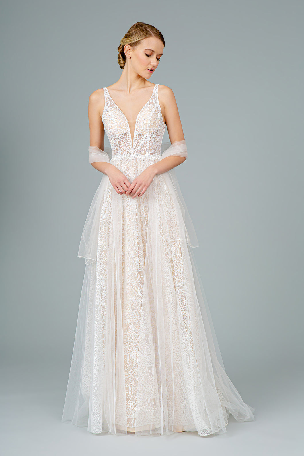 Rochelle Wedding Dress Ivory Art Deco Gown G2994EE-Ivory  SAMPLE IN STORE