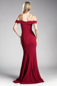 Samantha Off the Shoulder Fitted Bridesmaid Dress in Burgundy C114NK-Burgundy