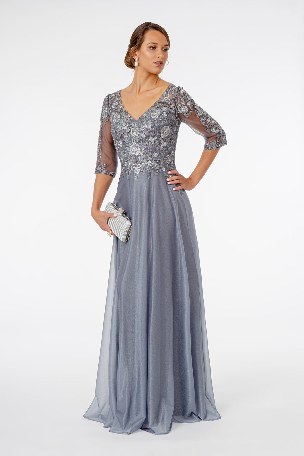 Sarah Mothers Dress with 3/4 Length Sleeves and Long Skirt G1825EE-Silver SAMPLE IN STORE