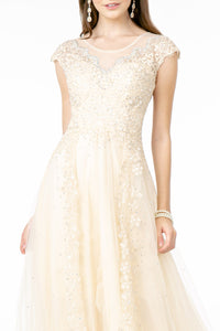 Sierra Wedding Dress Lace and Illusion Bridal Gown G2882THR-Champagne/Ivory  SAMPLE IN STORE