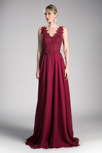 Suzette Formal Dress Lace Top Full Skirt Gown C9177WR-Burgundy SAMPLE IN STORE