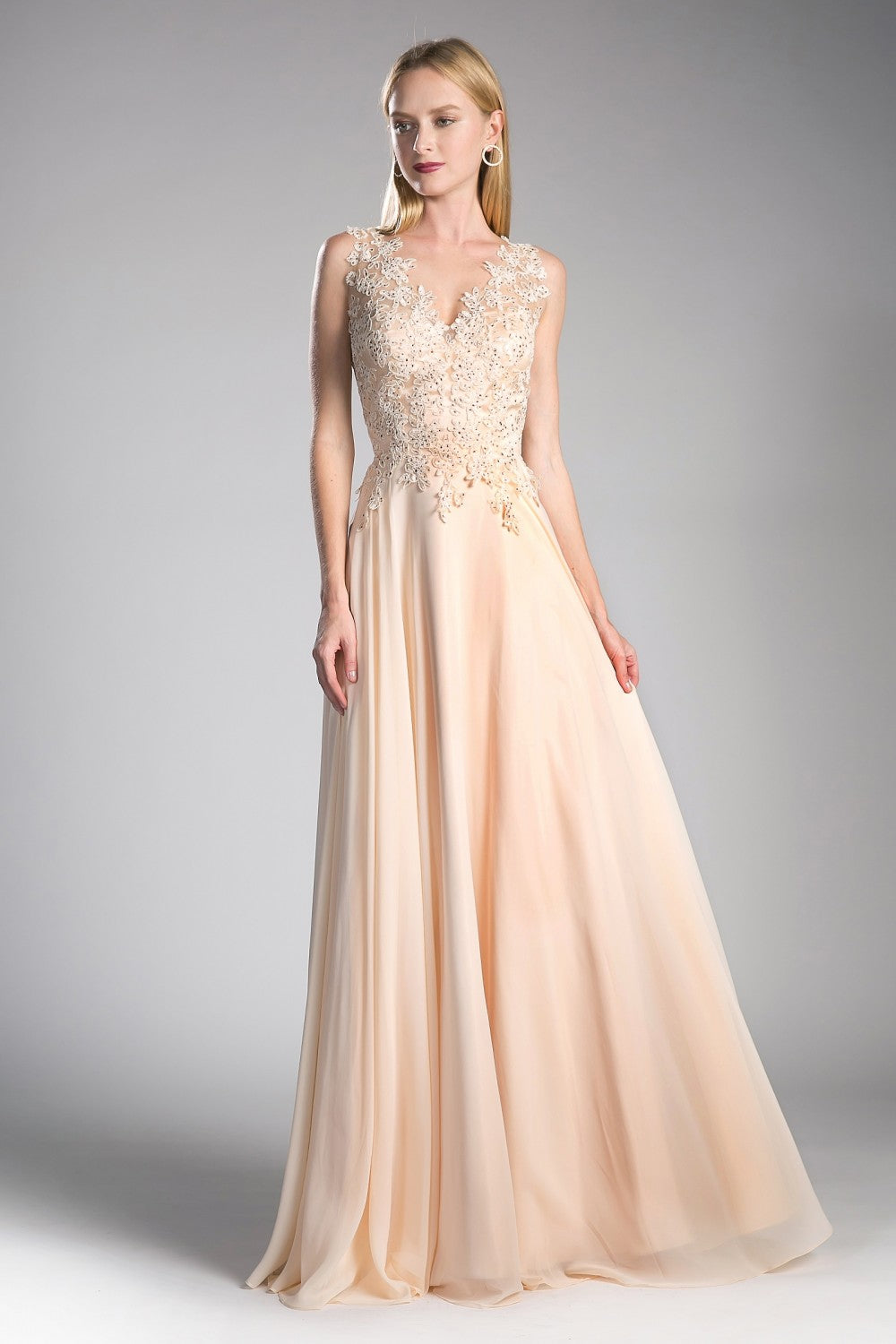 Suzette Formal Dress Lace Top Full Skirt Gown C9177WR-Champagne SAMPLE IN STORE