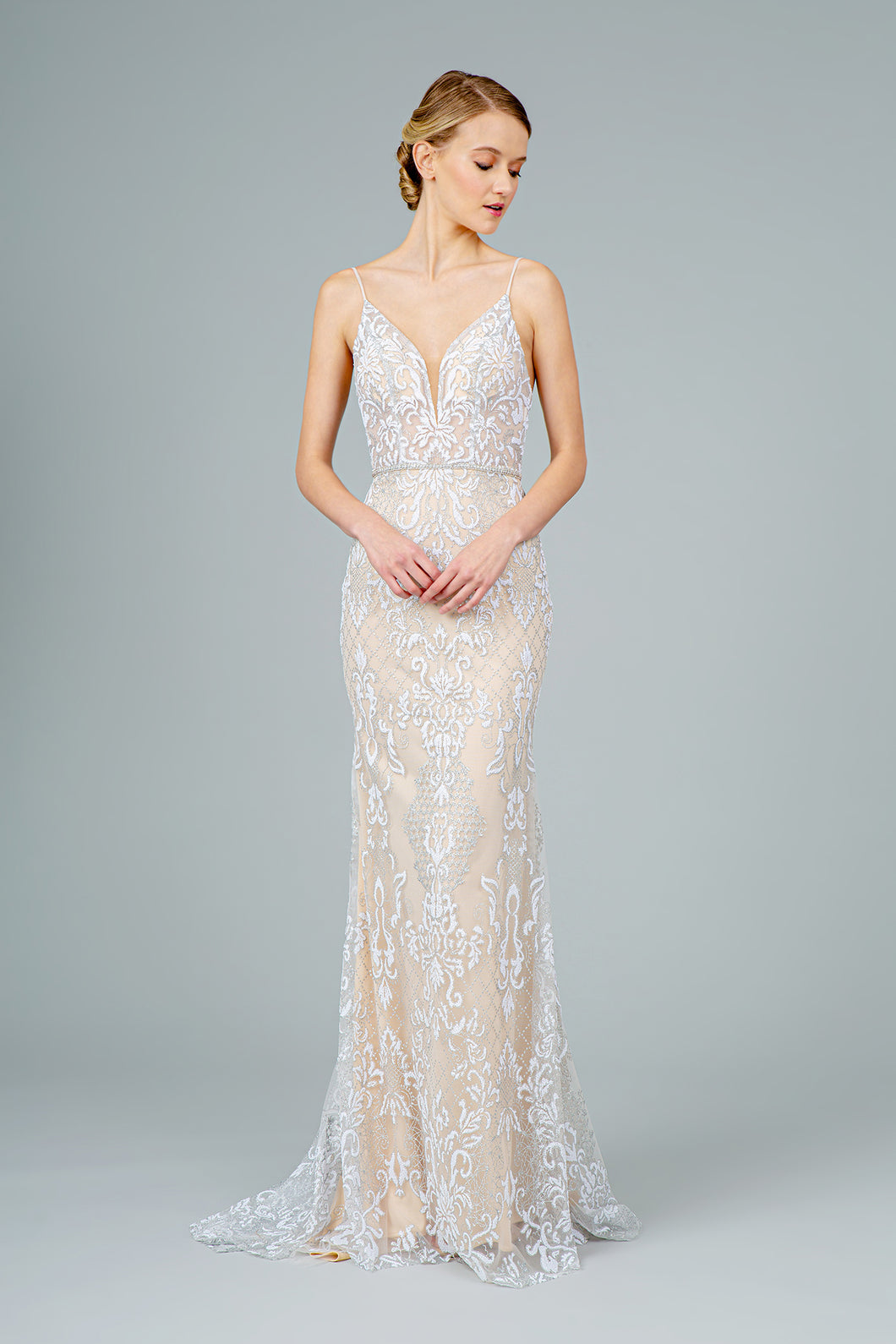 Tawny Wedding Dress Nude with Silver and White G2990XR SAMPLE IN STORE