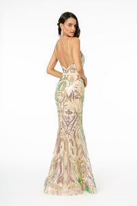 Thea Wedding Dress Fitted Champagne Gown with Iridescent Sequins G1845WR-Champagne  SAMPLE IN STORE