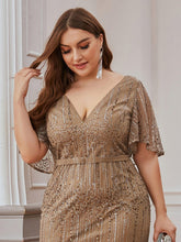 Load image into Gallery viewer, Tracy Formal Dress Flowing Short Sleeve Flared Bottom Gown E838IR-Coffee SAMPLE IN STORE