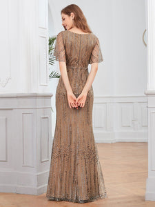 Tracy Formal Dress Flowing Short Sleeve Flared Bottom Gown E838IR-Coffee SAMPLE IN STORE