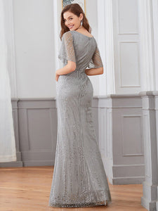 Tracy Formal Dress Flowing Short Sleeve Flared Bottom Gown E838IR-DoveGrey