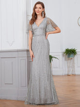 Load image into Gallery viewer, Tracy Formal Dress Flowing Short Sleeve Flared Bottom Gown E838IR-DoveGrey