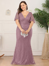 Load image into Gallery viewer, Tracy Formal Dress Flowing Short Sleeve Flared Bottom Gown E838IR-PurpleOrchid