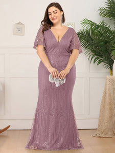 Tracy Formal Dress Flowing Short Sleeve Flared Bottom Gown E838IR-PurpleOrchid