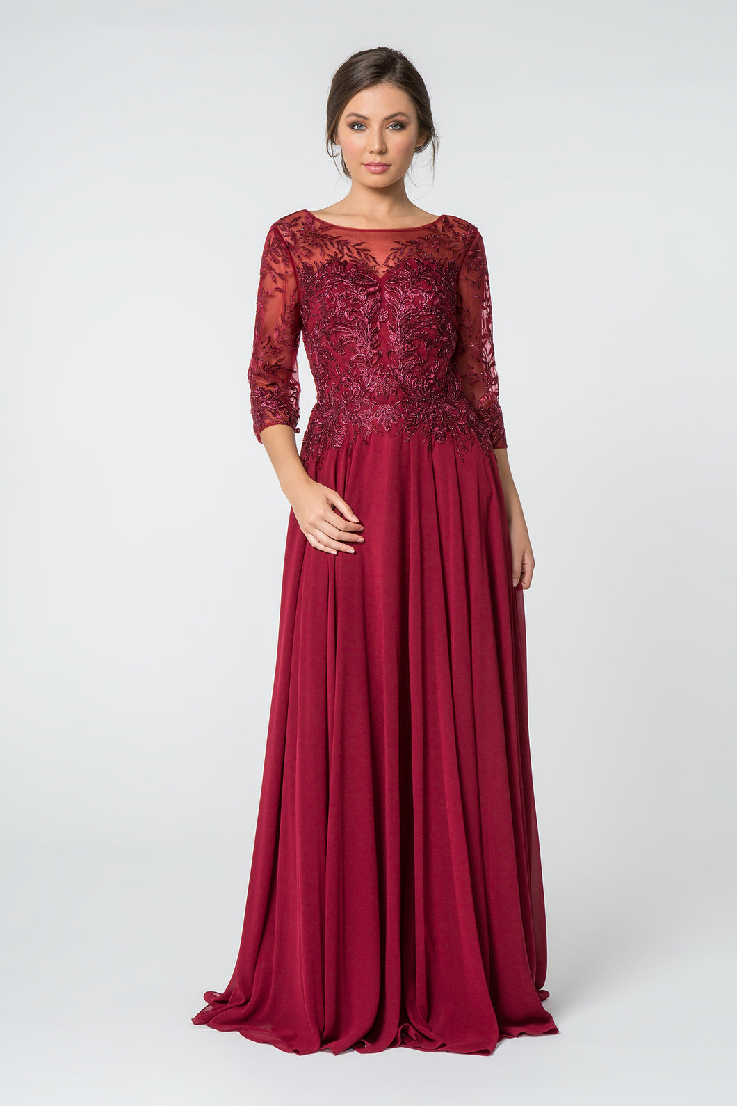 Trudy Mothers Dress 3/4 Length Sleeve with Chiffon Skirt in Burgundy G2810XR-Burgundy SAMPLE IN STORE (in navy)