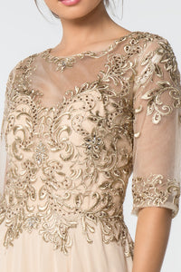 Vera Mothers Dress Half Sleeve Embroidered Top in Champagne G2812XR-Champagne SAMPLE IN STORE