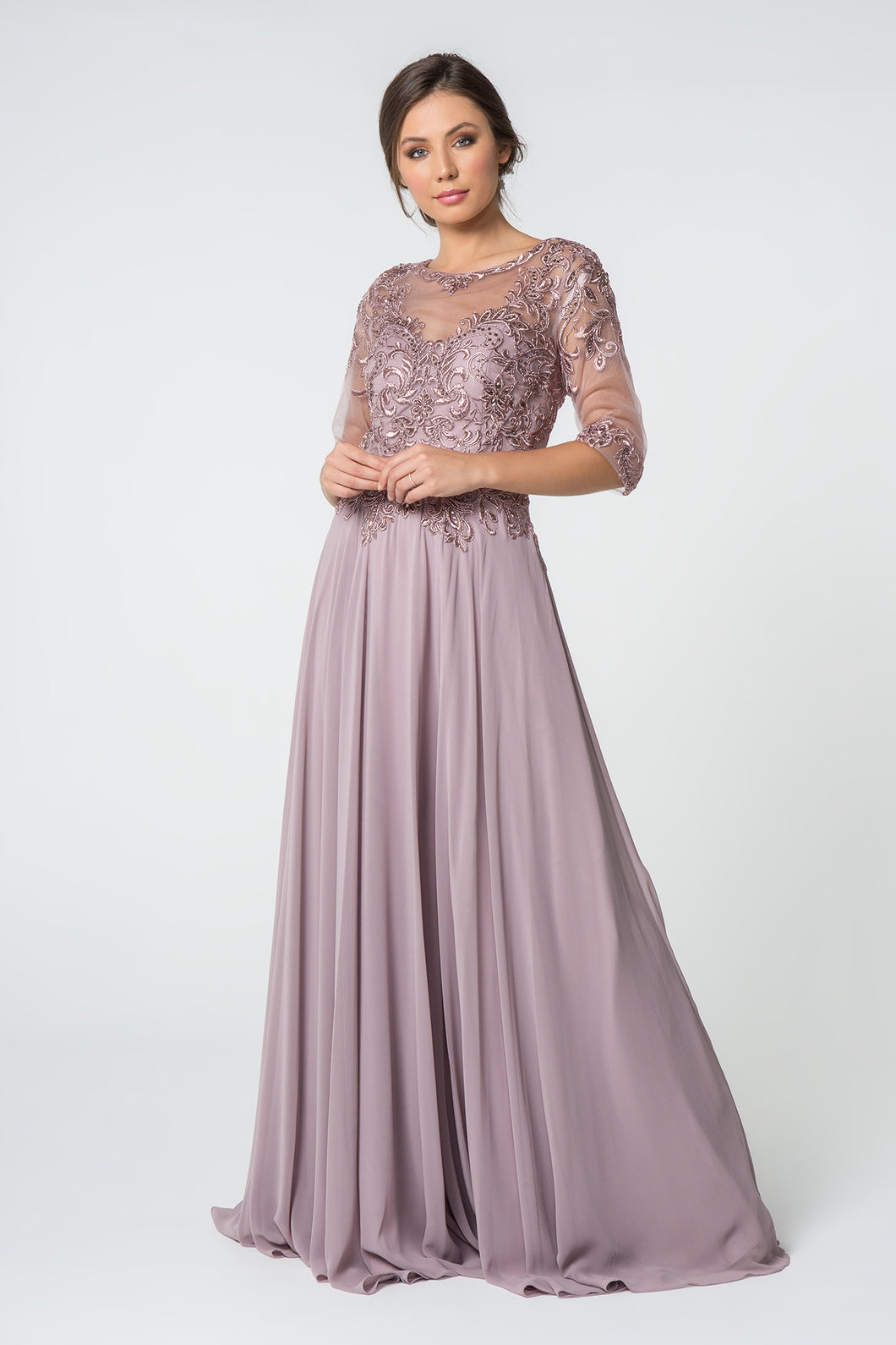 Vera Mothers Dress Half Sleeve Embroidered Top with Long Skirt in Mauve G2812XR-Mauve