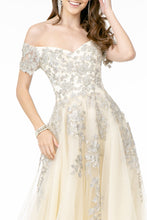 Load image into Gallery viewer, Verona Wedding Dress Off the Shoulder Silver Embroidered Flowers G2885TWR-Ivory SAMPLE IN STORE
