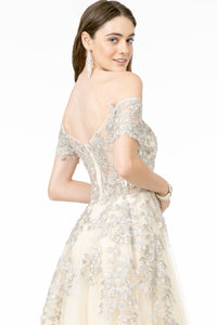 Verona Wedding Dress Off the Shoulder Silver Embroidered Flowers G2885TWR-Ivory SAMPLE IN STORE