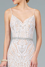 Load image into Gallery viewer, Vienna Wedding Dress Sheath of White and Silver over Nude Bridal Gown G2930THR-Ivory  SAMPLE IN STORE