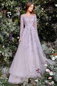 Waterlily Wedding Dress Long Sleeve Purple Bridal Gown AL1024HWR-FrenchViolet
